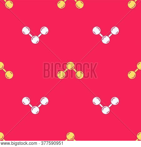 Yellow Molecule Icon Isolated Seamless Pattern On Red Background. Structure Of Molecules In Chemistr
