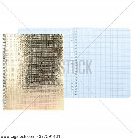 Open Notebook With Gold Cover Isolated On White Background, Layout, Copyspace. An Empty Notepad In A