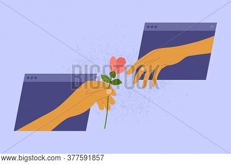 Online Dating Concept. Social Distancing And Internet Love. Partner Gives Flower For Darling From Vi