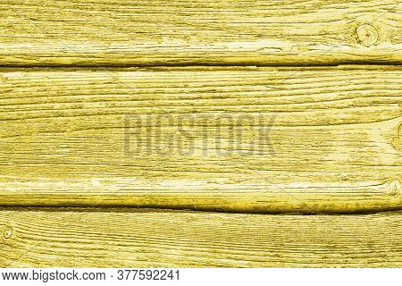 Yellow Color Wood Surface. Broken Wooden Desk Structure. Vintage Board Pattern Design. Old Peeling P