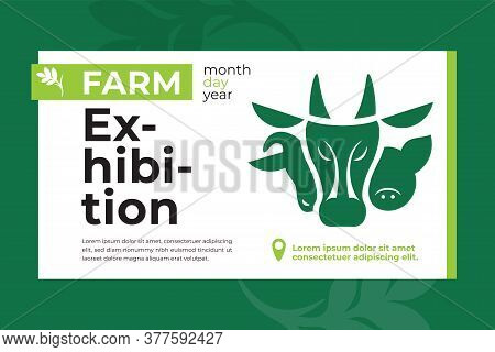Banner With Farm Animals Icon For Exhibition. Design For Agricultural Fair, Livestock Business, Conf