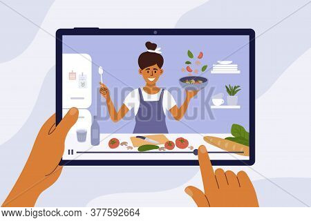 Culinary Video Broadcast, Channel Or Blog With Cooking Online Class. Young Woman Preparing Healthy F