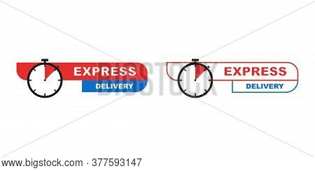 Express Delivery Icon With Stopwatch Sign. Isolated Shipping Icon With Round Watch. Logistic Shippin