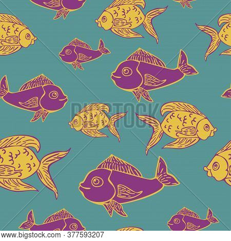 Vector Seamless Pattern Of Fish In Retro Linocut Style. Fancy Abstract Fish Vector Illustration.