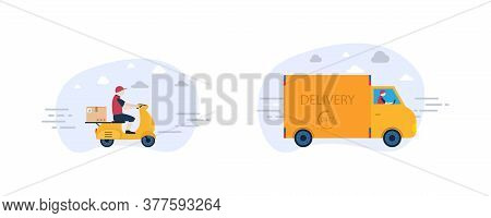 Online Delivery Service By Motorcycle And Truck Courier. Transport Delivery Illustration. Courier Ma