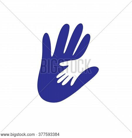 Parent And Child S Hand Together Logo. Concept Vector Graphic. This Illustration Shows The Relations