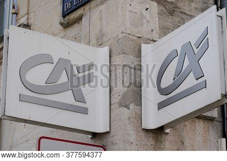 Bordeaux , Aquitaine / France - 07 07 2020 : Ca Credit Agricole Sign Logo On Bank Agency Facade Stor