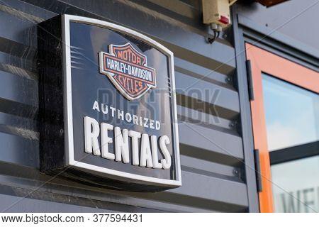 Bordeaux , Aquitaine / France - 07 17 2020 : Harley Davidson Authorized Rentals Text Logo Of Motorcy