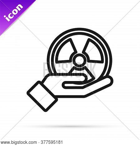 Black Line Radioactive In Hand Icon Isolated On White Background. Radioactive Toxic Symbol. Radiatio