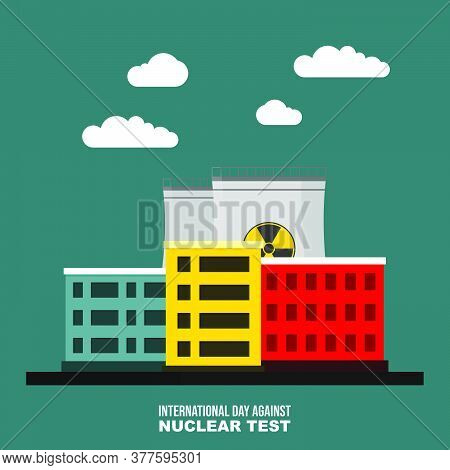 Landscape Design Of Nuclear Power Plant Vector Illustration. Good Template For Nuclear Design.