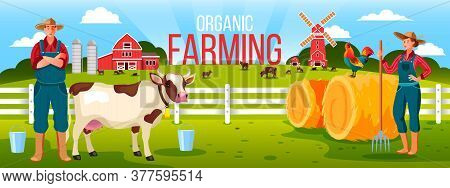 Organic Family Farming Illustration With Cowboy, Woman Farmer, Haystack, Cow, Cock, Mill, Fence, Mil