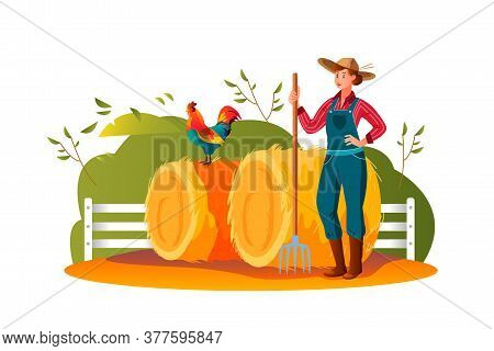 Harvest Farm Illustration With Strong Woman, Haystacks, Pitchfork, Bushes, Cock, Fence. Agriculture