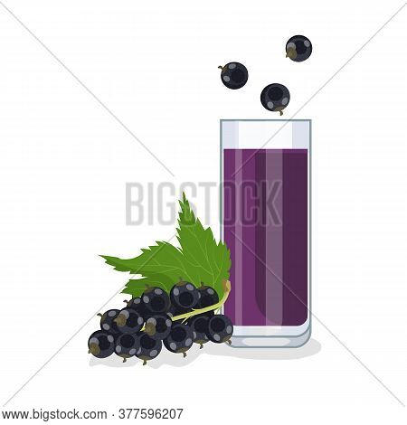 Black Currant Juice In A Glass Glass, Next To Black Currant Berries. White Background, Isolate. Vect