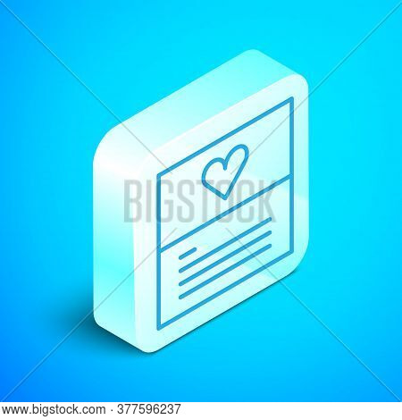 Isometric Line Greeting Card Icon Isolated On Blue Background. Celebration Poster Template For Invit