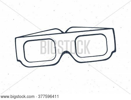 Outline Of Paper 3d Glasses Front View. Stereo Retro Glasses For Three-dimensional Cinema. Symbol Of
