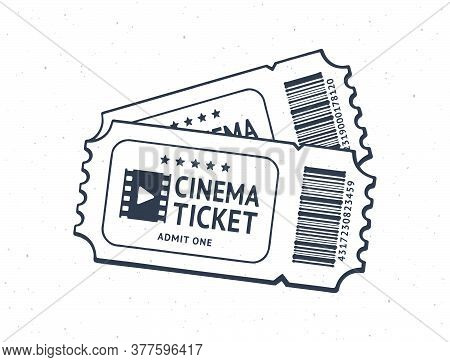 Outline Of Two Cinema Tickets With Barcode. Pair Paper Retro Coupons For Movie Entry. Symbol Of The