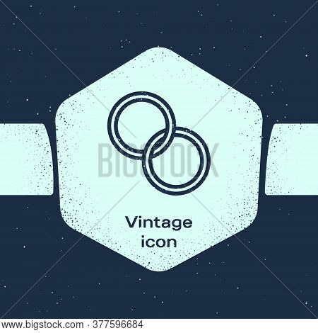Grunge Line Wedding Rings Icon Isolated On Blue Background. Bride And Groom Jewelry Sign. Marriage S