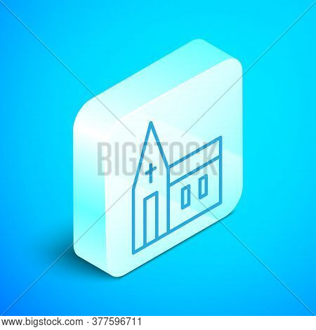 Isometric Line Church Building Icon Isolated On Blue Background. Christian Church. Religion Of Churc