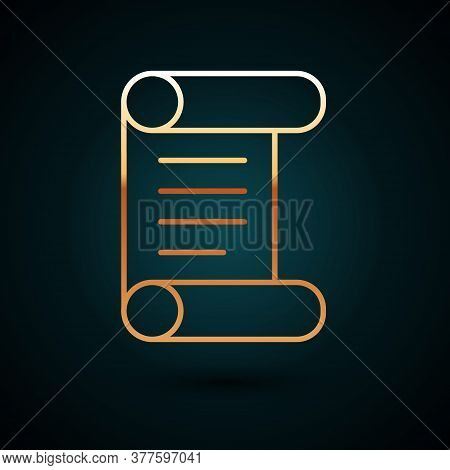 Gold Line Decree, Paper, Parchment, Scroll Icon Icon Isolated On Dark Blue Background. Vector