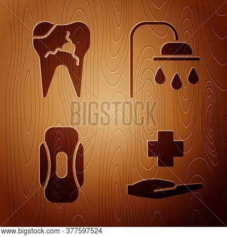 Set Cross Hospital Medical, Broken Tooth, Sanitary Napkin And Shower Head On Wooden Background. Vect
