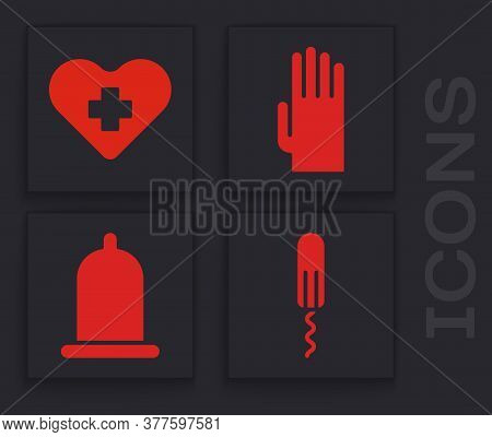Set Sanitary Tampon, Heart With A Cross, Rubber Gloves And Condom Icon. Vector