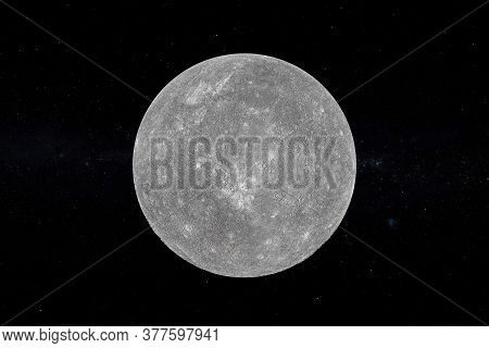Solar System Concept. View Of Full Big Planet Mercury From Space On A Black Sky Background. Elements