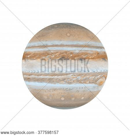 Solar System Concept. View Of Full Big Planet Jupiter From Space On A White Background. Elements Of