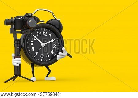 Alarm Clock Character Mascot With Dslr Or Video Camera Gimbal Stabilization Tripod System On A Yello