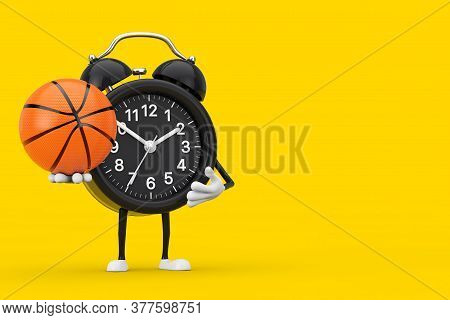 Alarm Clock Character Mascot With Basketball Ball On A Yellow Background. 3d Rendering