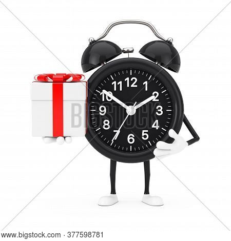 Alarm Clock Character Mascot With Gift Box With Red Ribbon On A White Background. 3d Rendering