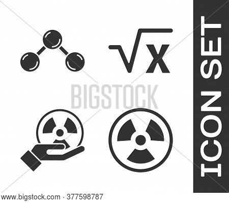 Set Radioactive, Molecule, Radioactive And Square Root Of X Glyph Icon. Vector