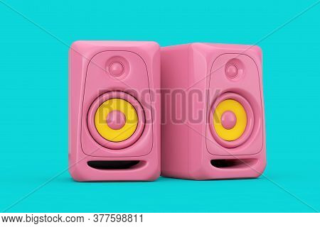 Pink Audio Studio Acoustic Speakers In Duotone Style On A Blue Background. 3d Rendering