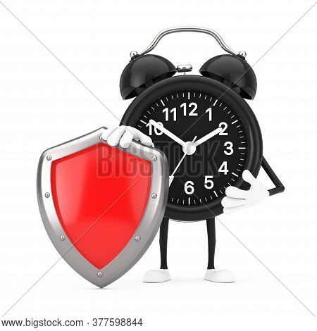 Alarm Clock Character Mascot With Red Metal Protection Shield On A White Background. 3d Rendering
