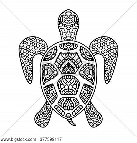 Vector Black And White Coloring Turtle Coloring Doodle Zentangle For Adults And Children. Patterned