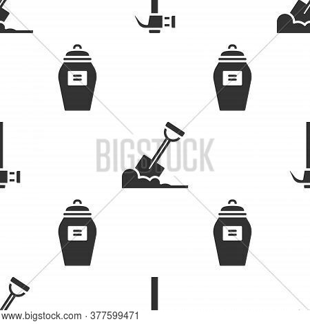 Set Hammer, Shovel In The Ground And Funeral Urn On Seamless Pattern. Vector