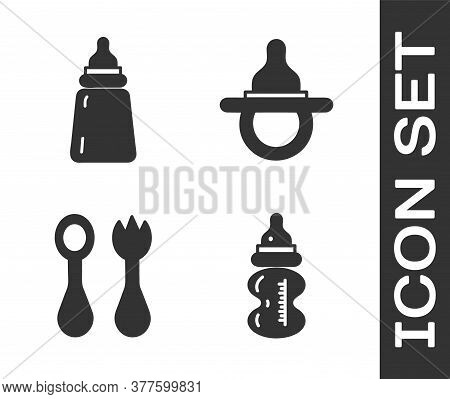 Set Baby Bottle, Baby Bottle, Baby Cutlery With Fork And Spoon And Baby Dummy Pacifier Icon. Vector