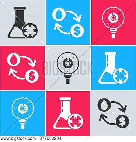 Set Antifreeze Test Tube, Oil Exchange, Water Transfer, Convert And Motor Gas Gauge Icon. Vector