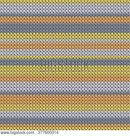 Stylish Horizontal Stripes Knitting Texture Geometric Vector Seamless. Plaid Knit Effect Ornament. N