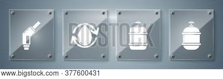 Set Propane Gas Tank, Propane Gas Tank, Oil Drop And Gasoline Pump Nozzle. Square Glass Panels. Vect