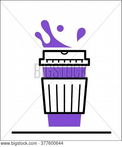 Coffee Paper Cup Creative Icon With Steam And Splashes. Take Away Coffee Or Tea To Go On White Backg