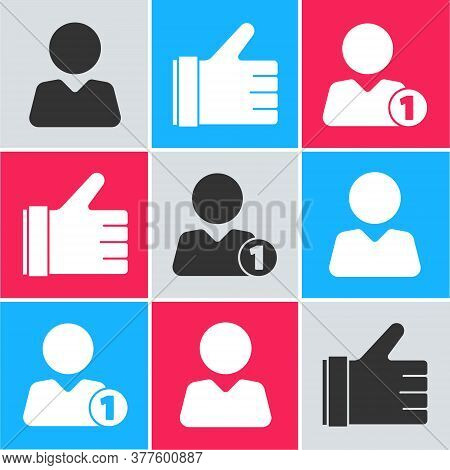 Set Add To Friend, Hand Like And Add To Friend Icon. Vector