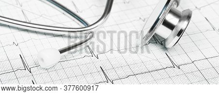 Medicine And Pharmacy Background. Stethoscope Against Ecg With Printed Heart Rate. Medical And Healt
