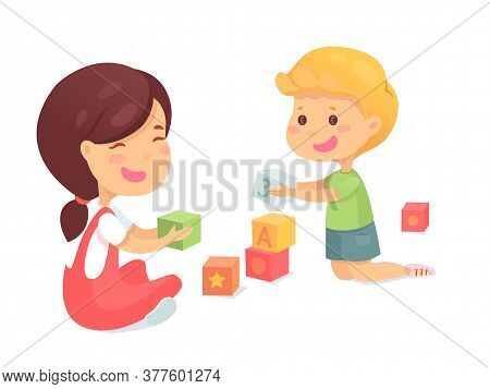 Smiling Preschool Children Play With Block. Happy Cute Boy Girl With Toy Cube. Educational Game. Kid