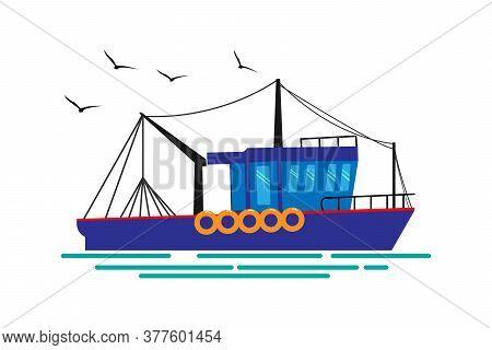 Fishing Boat, Seagulls Vector Illustration. Cartoon Style.