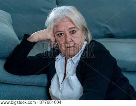 Senior Widow Woman Lonely And Sad Feeling Depressed At Home