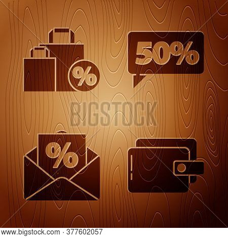 Set Wallet, Shoping Bag With Discount, Envelope With An Interest Discount And Fifty Discount Percent