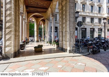 Milan, Italy - April 17, 2018. Old Arched Passageway Between Filippo Meda Square And Belgioioso Squa