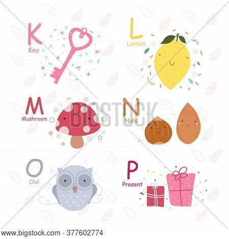 English Alphabet With Cute And Funny Characters In Vector, Learn To Read K, L, M, N, O, P Letters. I