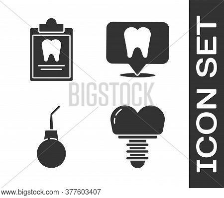 Set Dental Implant, Clipboard With Dental Card, Enema Pear And Dental Clinic Location Icon. Vector