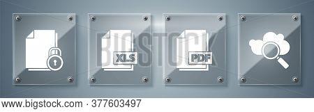 Set Search Cloud Computing, Pdf File Document, Xls File Document And Document And Lock. Square Glass
